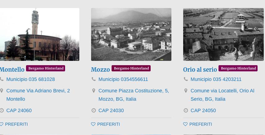 Comuni Bergamo Hinterland