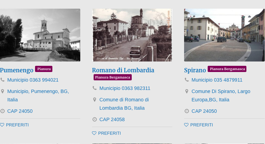 Comuni Pianura Bergamasca