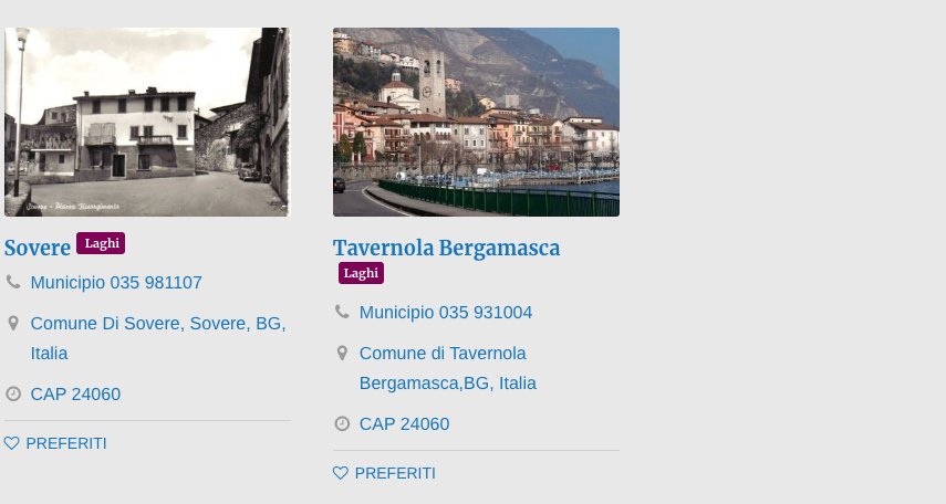 Comuni Laghi Bergamo
