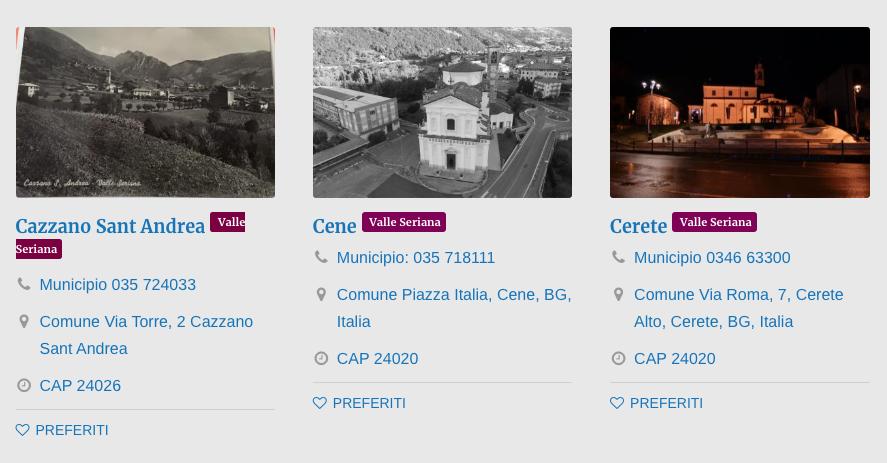 Comuni Val Seriana