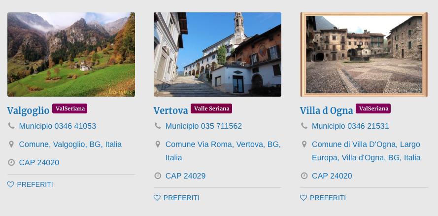Comuni Valle Seriana